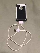 Apple iPhone 4 4G 4S Black & White Rubber Hard Phone Case Cover w/ Charging Cord