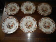 SERIE DE 6 ASSIETTES BROWN FIELD DETROIT IVORY