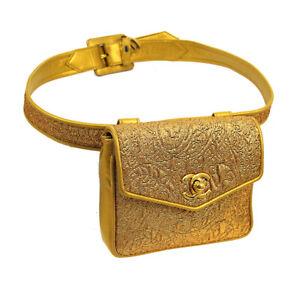 CHANEL Nishijin-ori CC BUM Belt Bag 2361947 Purse Gold Leather Vintage AK38336h