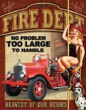 Metal Sign Fire Police Rescue Pin Up Bravest of our Heroes NEW