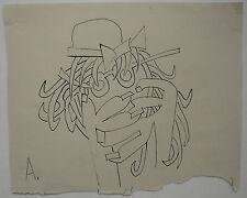Dessin Ancien Encre Portrait Cubiste Homme Chapeau RENÉ AUDEB��S c.1970 #6