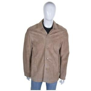 VINTAGE Brown Suede Safari Jacket XL Leather Coat 70s Rockabilly Mod