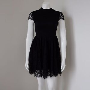 Passion Fusion Romantic Black Lace Skater Dress High Neck LBD Size XS 6