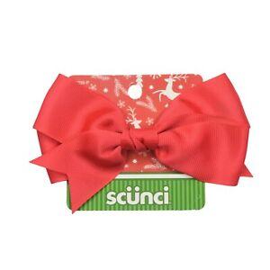 Scunci Barrette Red Bow Hair Clip Grosgrain Ribbon NEW