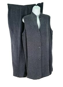 Coldwater Creek 1X 2 Pc Pant Suit Gray Wide Leg Trouser Sleeveless Banded Collar