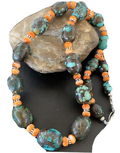 """Navajo Green Turquoise Sterling Silver Orange Spiny Oyster Necklace 25"""" 01849"""