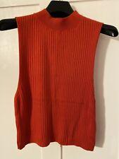 Topshop Red Roll Neck Sleeveless Crop Jumper UK 12