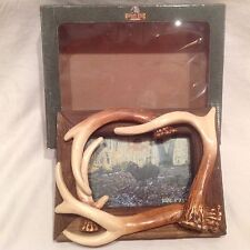 "NEW Barnwood Picture Frame Deer Hunting 4 Antlers Buck Desk or Wall Mount 4""x6"""