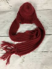 Billabong Red Knitted Beanie Scarf - Distressed Wool