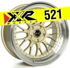 XXR 521 18x10 5-100 +25 Gold Wheels (Set of 4) Classic Mesh Design Huge Lip