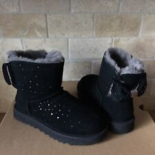 UGG MINI STARGIRL BAILEY BOW BLACK WATER-RESISTANT SUEDE FUR BOOTS SIZE 7 WOMEN