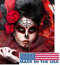 Red/Black Glitter Sugar Skull Mask Easy Eye Makeup Sticker Face Skeleton Costume