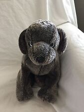 TY 2002 Plush Stuffed Gray Silver FRISBEE Puppy Dog Beanie Buddies Collar Brown