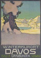 Vintage Ski Posters DAVOS WINTERSPORT, Swiss, 1905 by Walter Koch, 250gsm Print