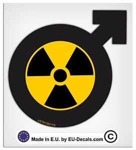 100mm-4'' Male Symbol Radioactive Laminated Decal Sticker vespa scooter man