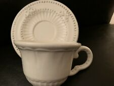 2 America Atelier Baroque Cup & Saucer Ironstone 5286 Embossed Scrolls