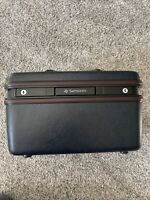Vintage Samsonite Silhouette 4 Dark Navy Blue Train Case Hard Luggage w/ Mirror