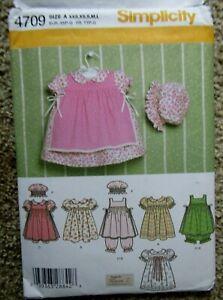 Simplicity Pattern 4709 BABIES' DRESS PINAFORE PANTALOONS PANTIES HAT Sz XXS-L