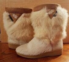 Women's Garden Sport White Goat Skin Fur Winter Boots Size 39 Italy USA 8.5