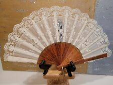 Wood And Lace Fan With Fabric Backing