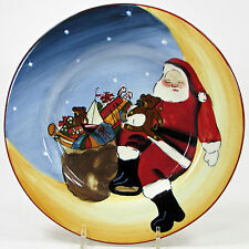 "Sakura MERRY LITTLE CHRISTMAS 8.5"" Salad Dessert Plate Santa Sleeping Moon"