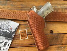 Vintage Tex Shoemaker Brown Basketweave Leather 45A Holster For Colt 1911 LEFT
