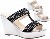 Ladies Womens High Heels Wedge Srappy Peep Toe Platform Party Sandals Shoes Size