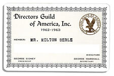 Milton Berle 1962-63 Official Directors Guild Card