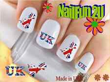 "Nail Art #529 COUNTRIES ""UK Flag"" WaterSlide Nail Decals Transfers Stickers"