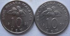 Malaysia 10 sen 1998 coin 2 pcs