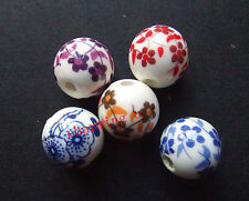 10pz misti perline ceramica tondo  12mm colore vari