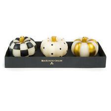 MacKenzie-Childs Mini Pumpkin Candles - Black & Gold - Set of 3