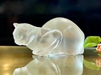 Lalique France Chat Couche Crouching Cat Excellent Condition Signed & Authentic
