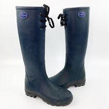 LE CHAMEAU Womens Tall Blue Rubber Rain Boots Wellies Lace Up France Sz 37 / 6