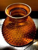 "VTG RARE GLASS OIL LAMP SHADE GLOBE AMBER HOBNAIL 6-1/2 TALL 8"" FITTER EXCELLENT"