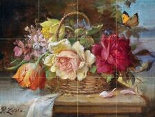 A Basket of Flowers and a Butterfly Tile Mural Kitchen Wall Backsplash Art 24x18