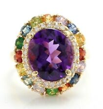 7.20 Ct Natural Amethyst Sapphires and Diamonds in 14K Solid Yellow Gold Ring