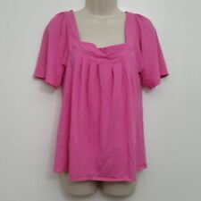 New York Company Womens Top Medium Pink Square Neckline Pleated Tunic