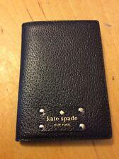 Kate Spade Leather Wellesley Passport Ticket Holder Wallet Black