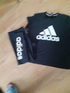 Ladys Adidas Leggings And Tshirt Gym Set Size 20-22 plus size