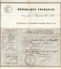 PASSEPORT A L'ETRANGER VALABLE POUR UN AN - 1907, Artiste Lyrique.