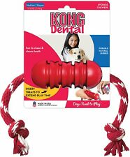 KONG Dental Rubber Dog Toy and Pet Treat Holder w/Rope Medium