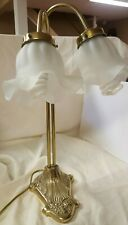 Vintage Brass Double Light Art Deco Goose Neck Lamp, ruffle glass shades EUC