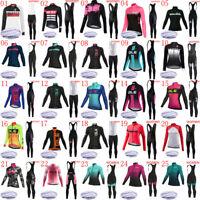 2019 Winter Women Cycling Thermal Fleece Jersey Bib Pants Set Team Bike Clothing