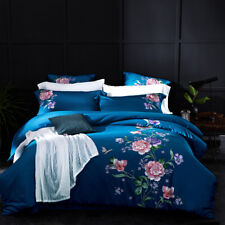 embroidery Cotton Silkily Bedding Bed Sheet Set Duvet Cover comforters