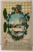 Merry Christmas Picturesque Winter Scene, Glitter And Ribbon Postcard E11