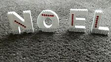 Christmas White Noel Letters,With Diamantie Trim, Glitter, Red Stones