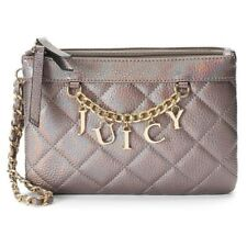 Juicy Couture Irridescent Pewter Quilted Chain Accent Logo Wristlet