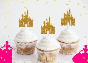 Princess Birthday Party Decorations Castle Cupcake Toppers Glitter Cake 6 Pack