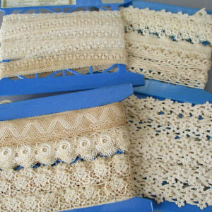 "4 Bolts Vintage French LACE Guipure Embroidered Trims 7/8"" - 1 1/2"" Wide * DOLLS"